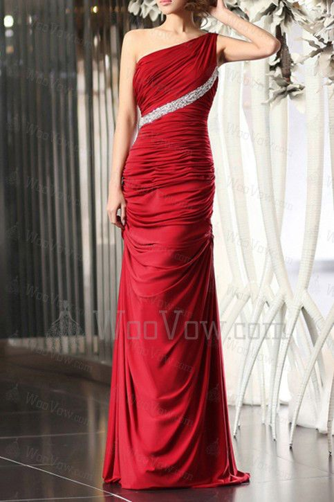 Charmeuse One Shoulder Floor Length Mermaid Prom Dress [2577] - $573.00 : Wedding Dresses