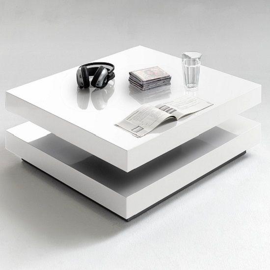 Hugo Square Coffee Table High Gloss White With Twist Top Coffee