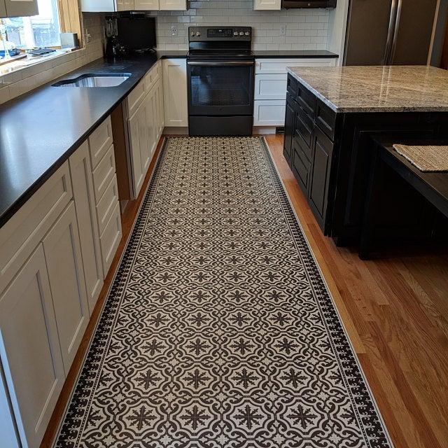 Dark Grey Vinyl Mat With Classic Tiles Design And Decorative Etsy In 2020 Vinyl Floor Mat Kitchen Mats Floor Kitchen Flooring