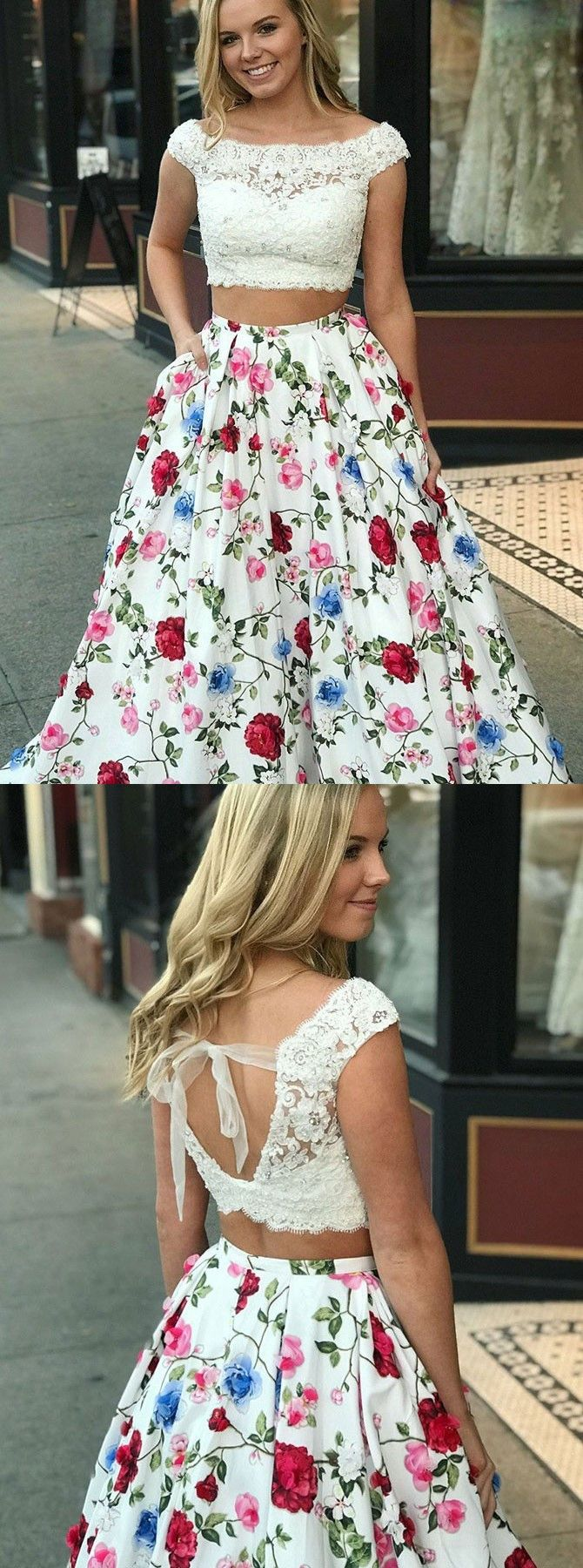 Two piece bateau white floral satin prom dress with lace pockets