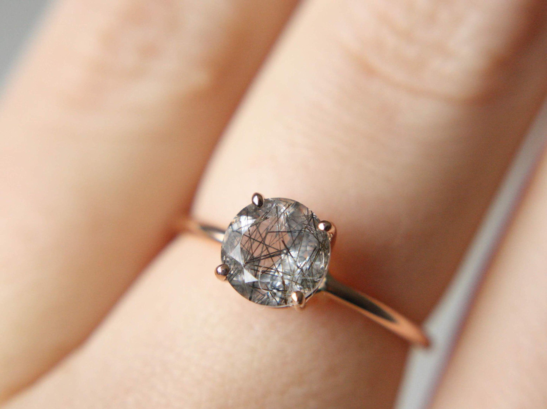 Black Rutilated Quartz Ring Tourmalinated Quartz Ring 7mm Etsy In 2020 Quartz Engagement Ring Rutilated Quartz Ring Tourmaline Engagement Ring
