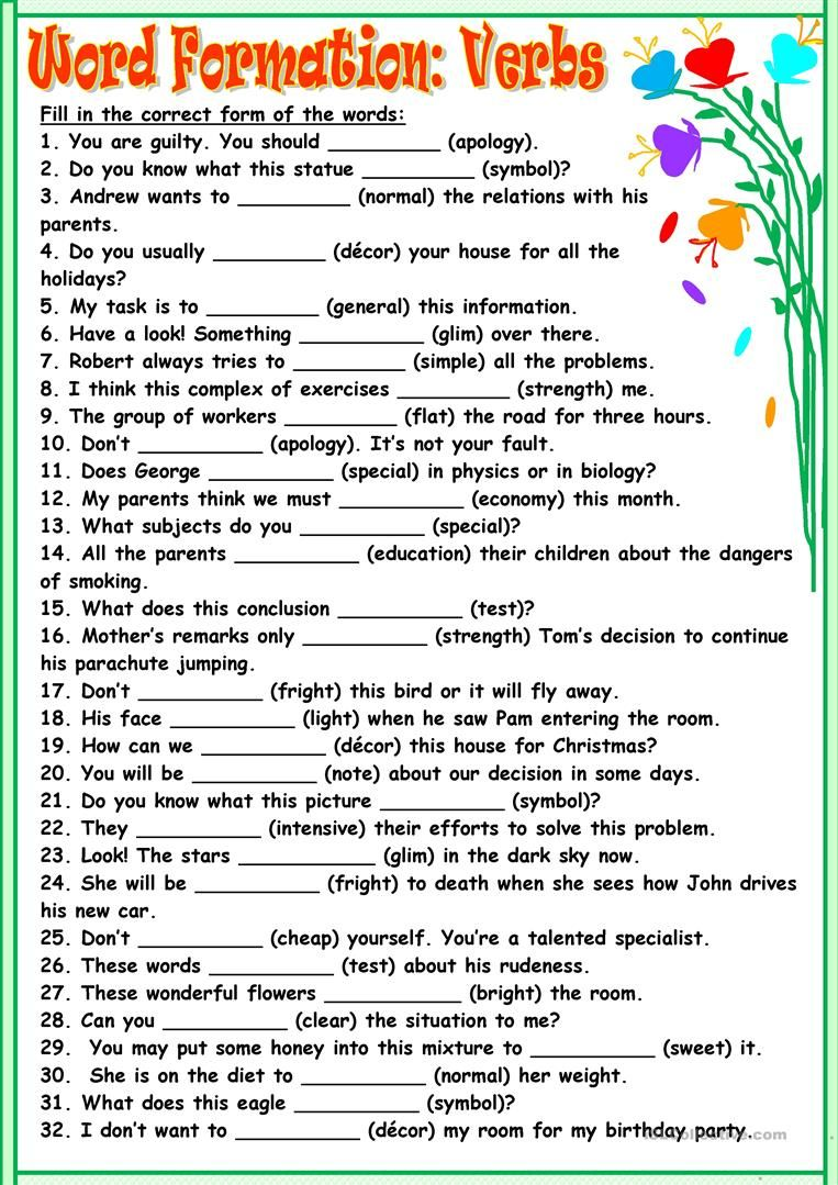 Worksheets Esl Printable Worksheets word formationverbs worksheet free esl printable worksheets made by teachers