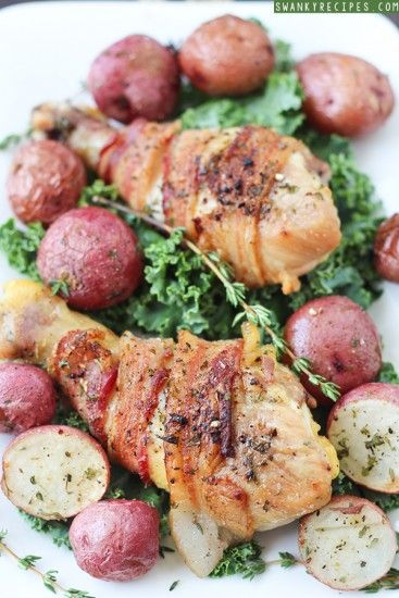 Bacon wrapped chicken recipe swanky recipes a family cook bacon wrapped chicken and potatoes from swanky recipes and other great family friendly dinner recipes forumfinder Images