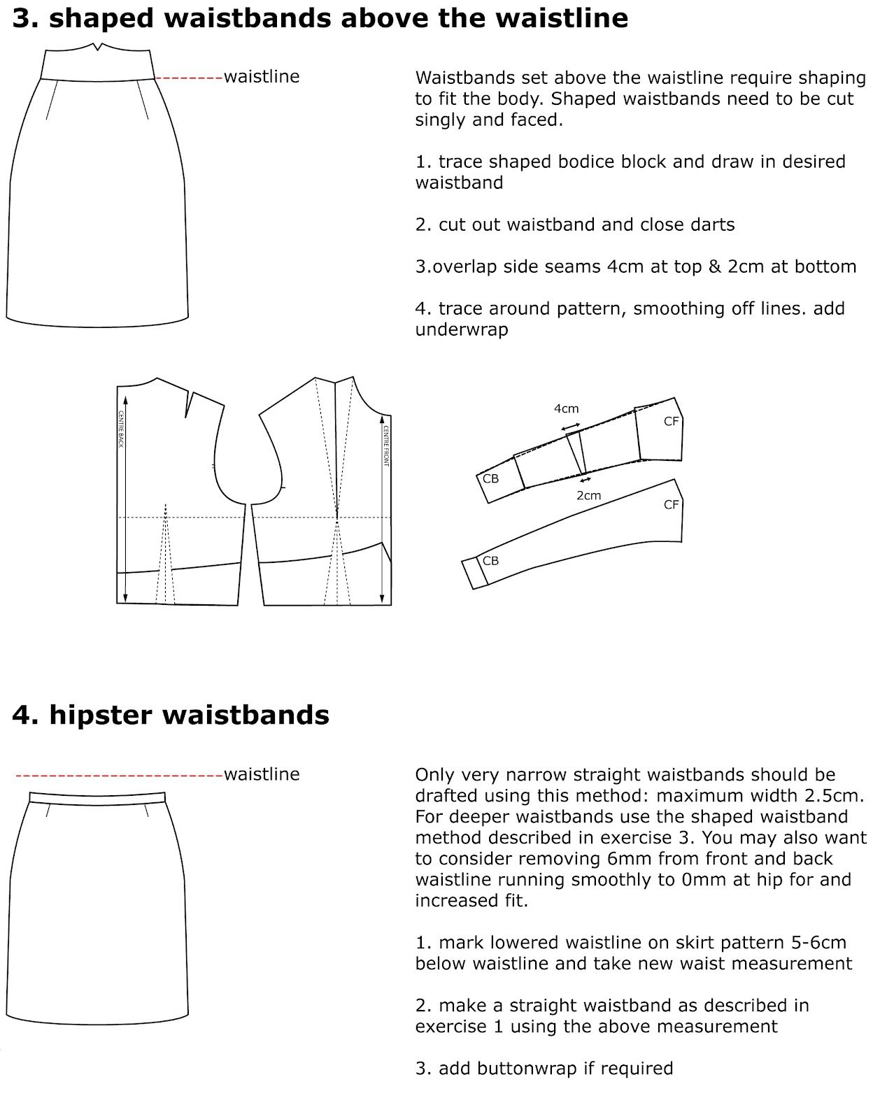 Pattern cutting: How to draft pattern to make high waists for skirts ...