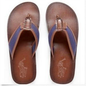 Polo Ralph Lauren Brown Leather Sullivan Flip Flop