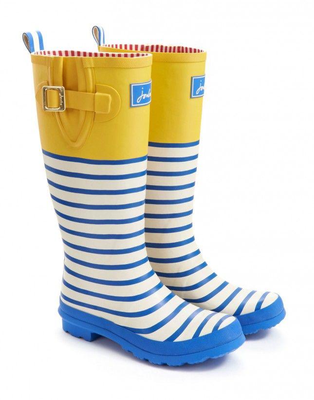 b2c45e09d609 Ladies Joules Yellow Stripe Wellington Boots  125 Cute Rain Boots