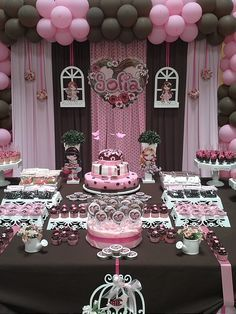 Pink Brown Dessert Table Birthday Jolie For Sofia Catch My
