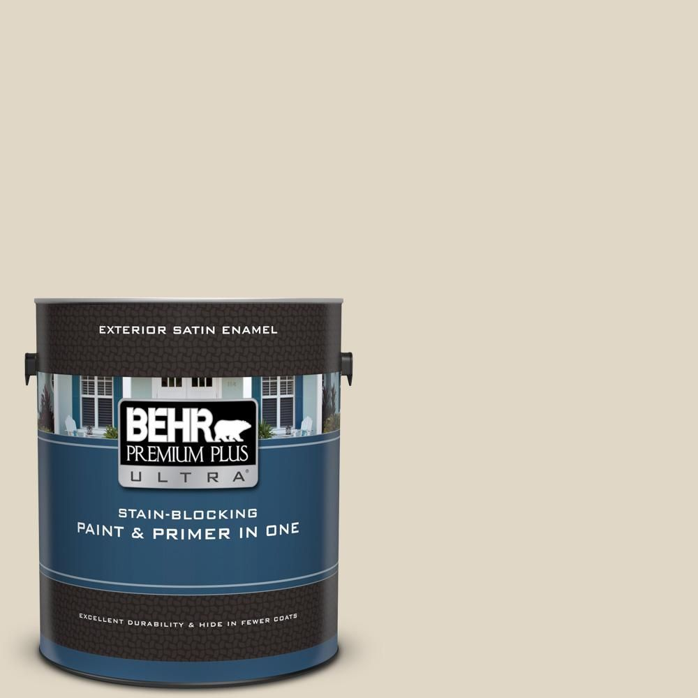 Behr Ultra 1 Gal Yl W13 Sentimental Beige Satin Enamel Exterior Paint And Primer In One 985001 The Home Depot In 2020 Interior Paint Behr Premium Plus Ultra Behr Marquee