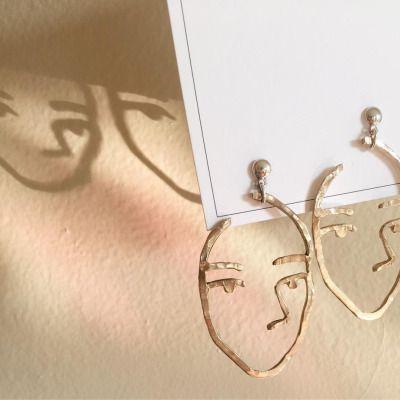 Profile hammered earrings