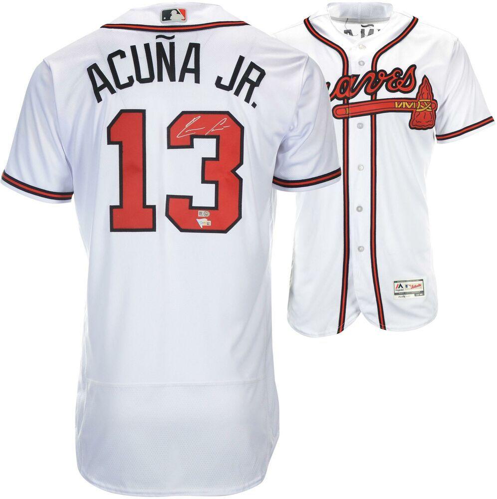 Ronald Acuna Atlanta Braves Autographed Majestic White Authentic Jersey Sportsmemorabilia Autograph Jersey Atlanta Braves Jersey Braves