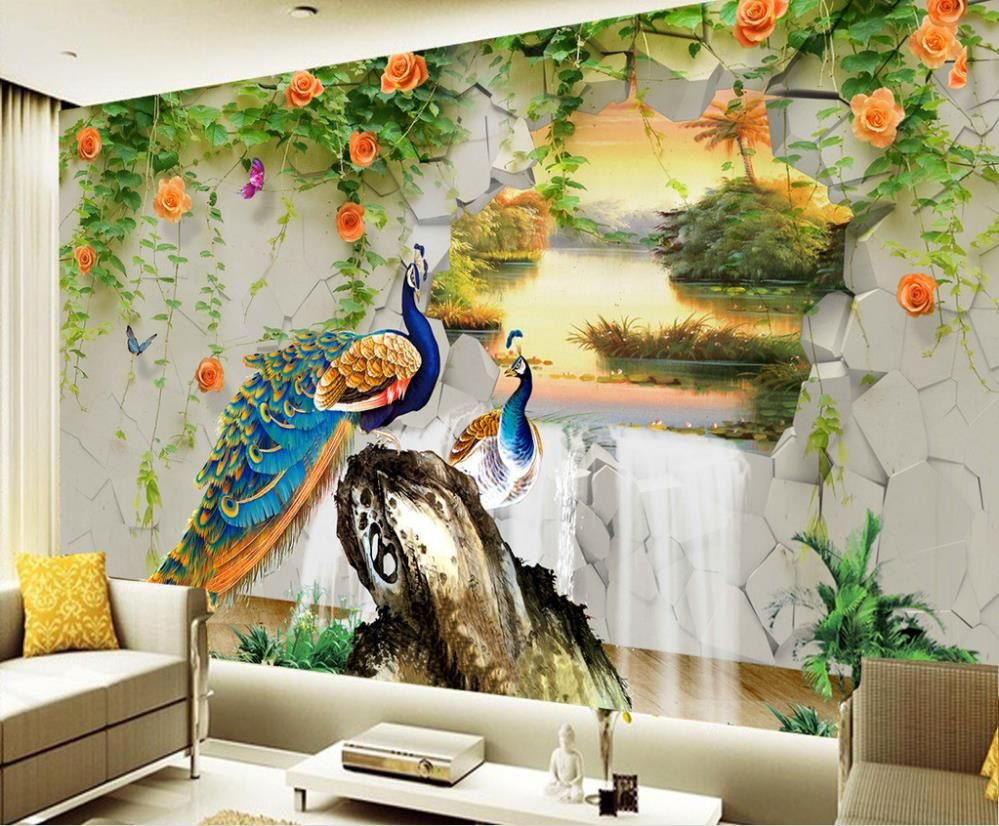 Cheap Wallpapers Buy Directly From China Suppliers 3d Wallpaper Custom Any Size Mural Wallpaper 3d Peacock Landscape Mural Wallpaper 3d Wallpaper Wall Murals