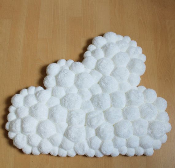 cloud nursery pom pom rug baby nursery rug cloud rug baby mat baby room rug fluffy mat. Black Bedroom Furniture Sets. Home Design Ideas