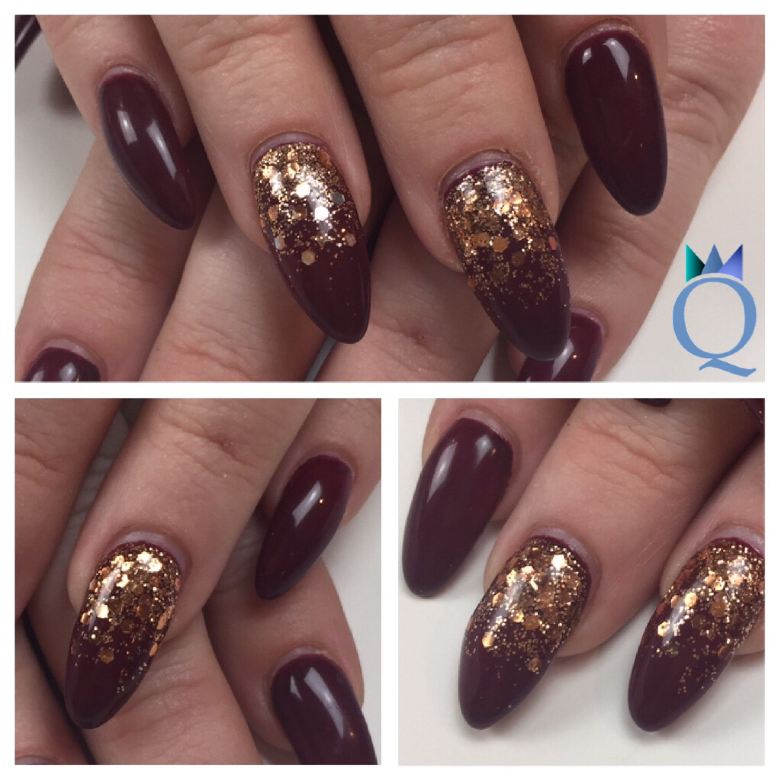 almondnails #gelnails #nails #darkred #rosegold #glitter #akyado ...