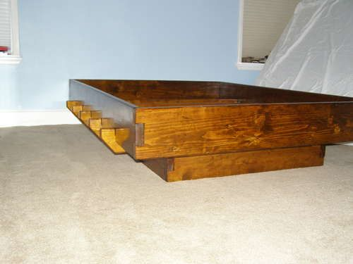 Bed Frame Knockdown No Fasteners Or Glue With Images Wooden