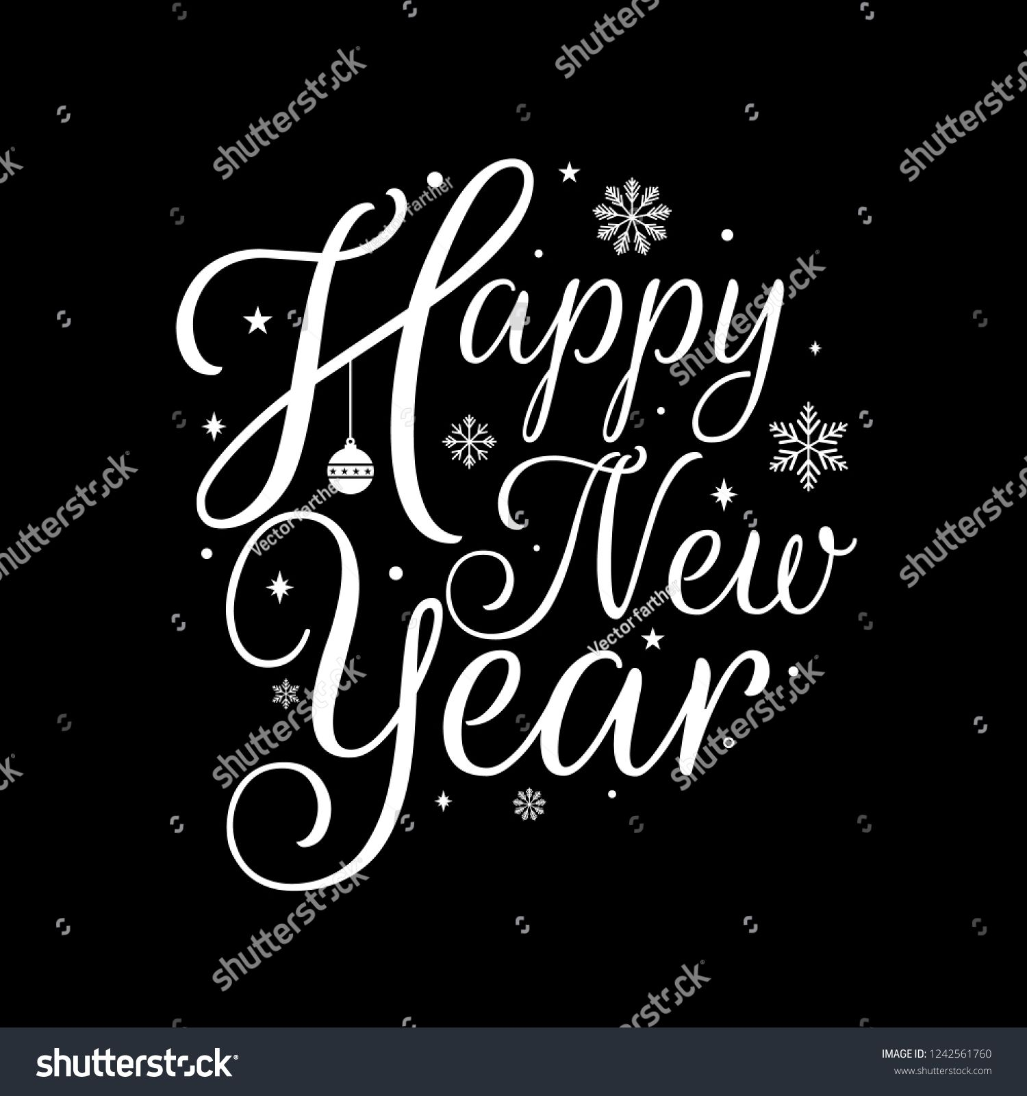 Happy New Year, lettering Greeting Card design circle text