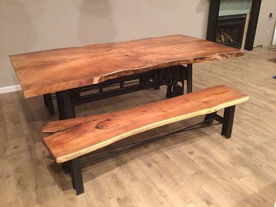 Custom Made Live Edge Mesquite Wood Slab Dining Table Home And Living Kitchen Reclamed Furniture Reclaimed