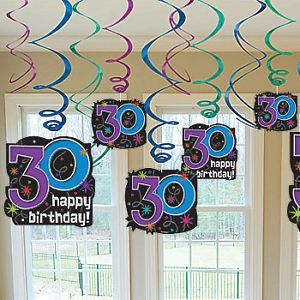 Happy 30th Birthday Swirl Decorations