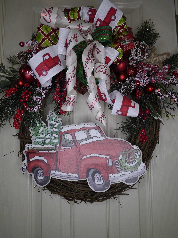 Christmas Wreath, Red Truck Wreath, Rustic Wreath, Vintage Truck Wreath, Christmas Decor, Christmas Grapevine, Holiday Wreath, Free Shipping #walkwaystofrontdoor