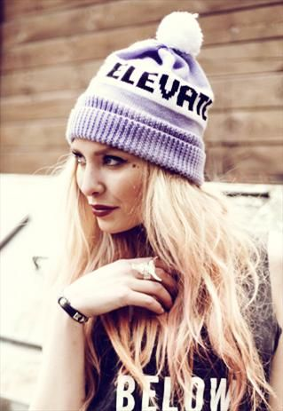 Educate Elevate Bobble Beanie in Lilac & White £20.00