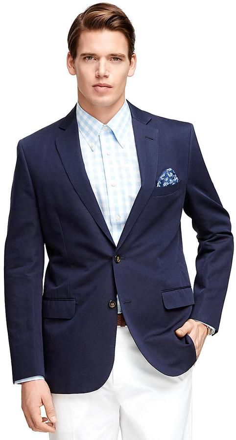$448, Navy Blazer: Brooks Brothers Fitzgerald Fit Two Button Sport Coat. Sold by Brooks Brothers. Click for more info: https://lookastic.com/men/shop_items/202415/redirect