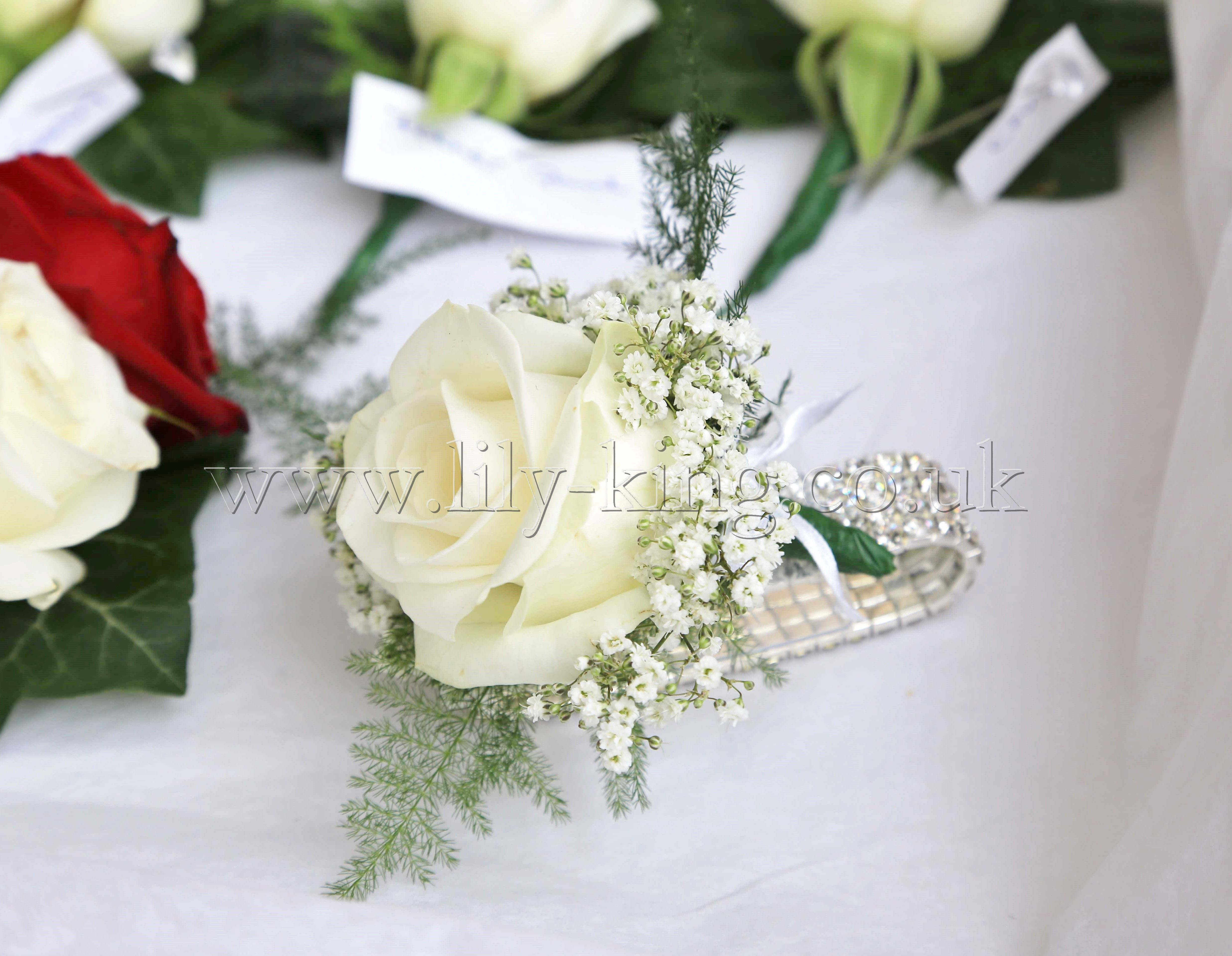 A white rose wrist corsage, by Lily King Weddings | J&A Wedding ...