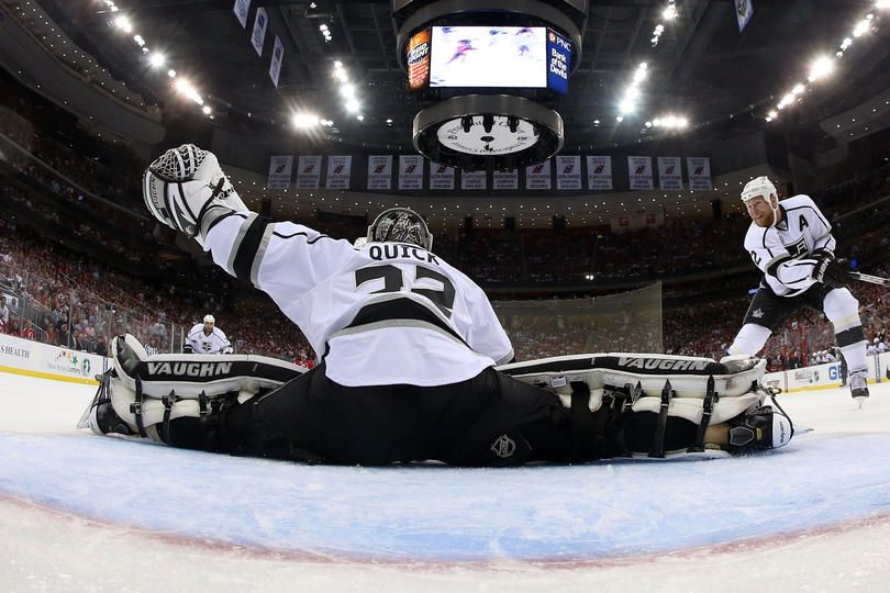 9e8f58c9fec NEWARK, NJ - MAY 30: Jonathan Quick #32 of the Los Angeles Kings makes a  save during the first period against the New Jersey Devils during Game One  of the ...