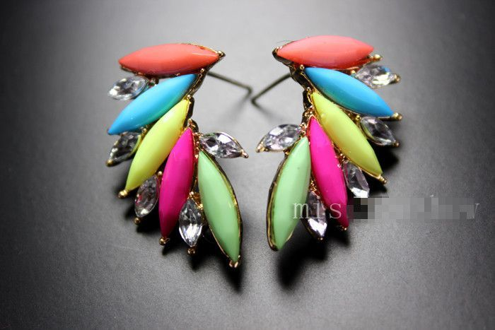 Star Jewelry 2015 New Design Good Quality Crystal Angel Strud Earrings For Woman Colorful hot Gifts 027