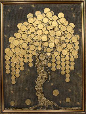 Денежное дерево панно своими руками из монет