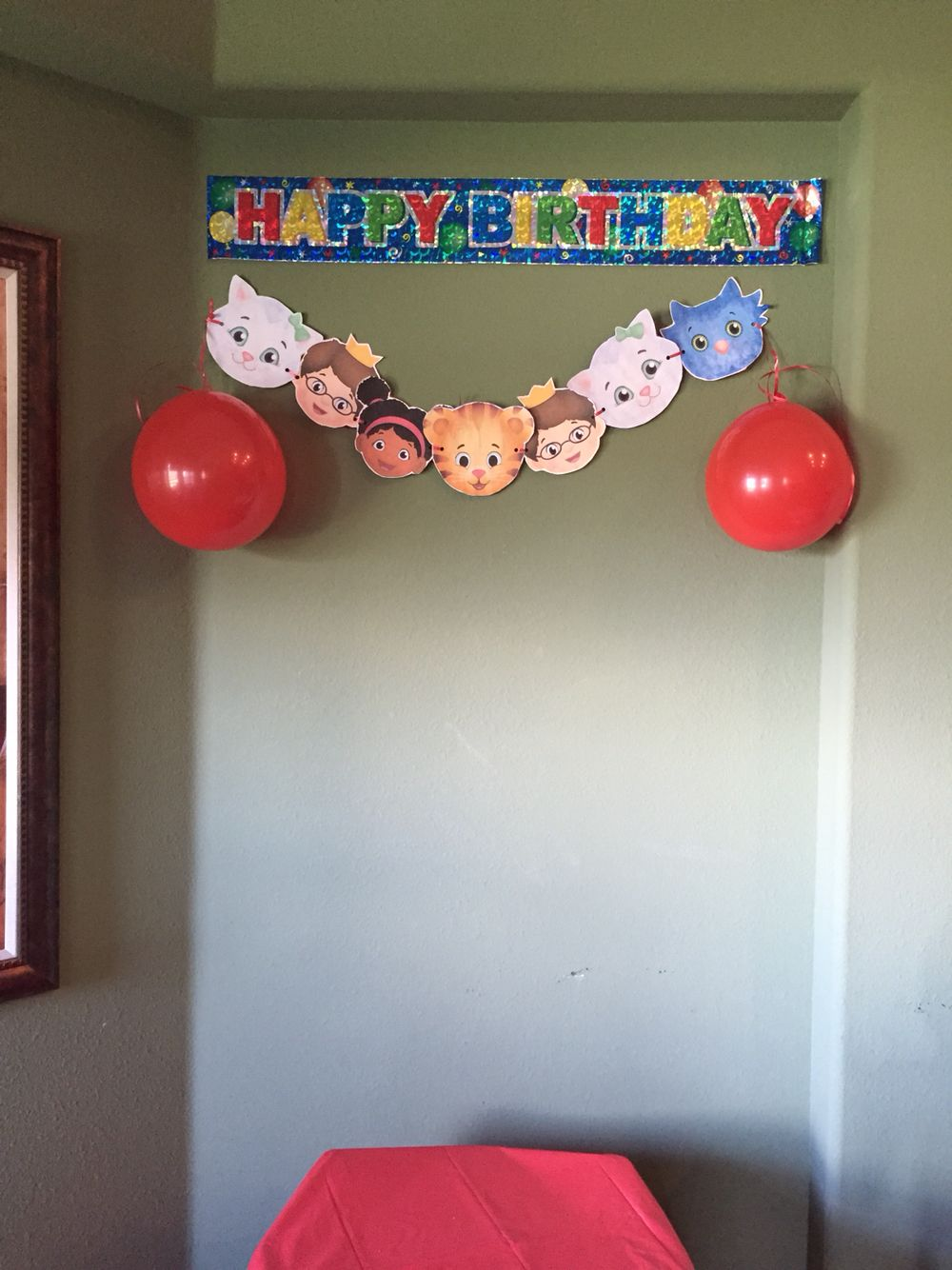 Happy Birthday Banner From Dollar Tree Balloons And Character Faces Printed