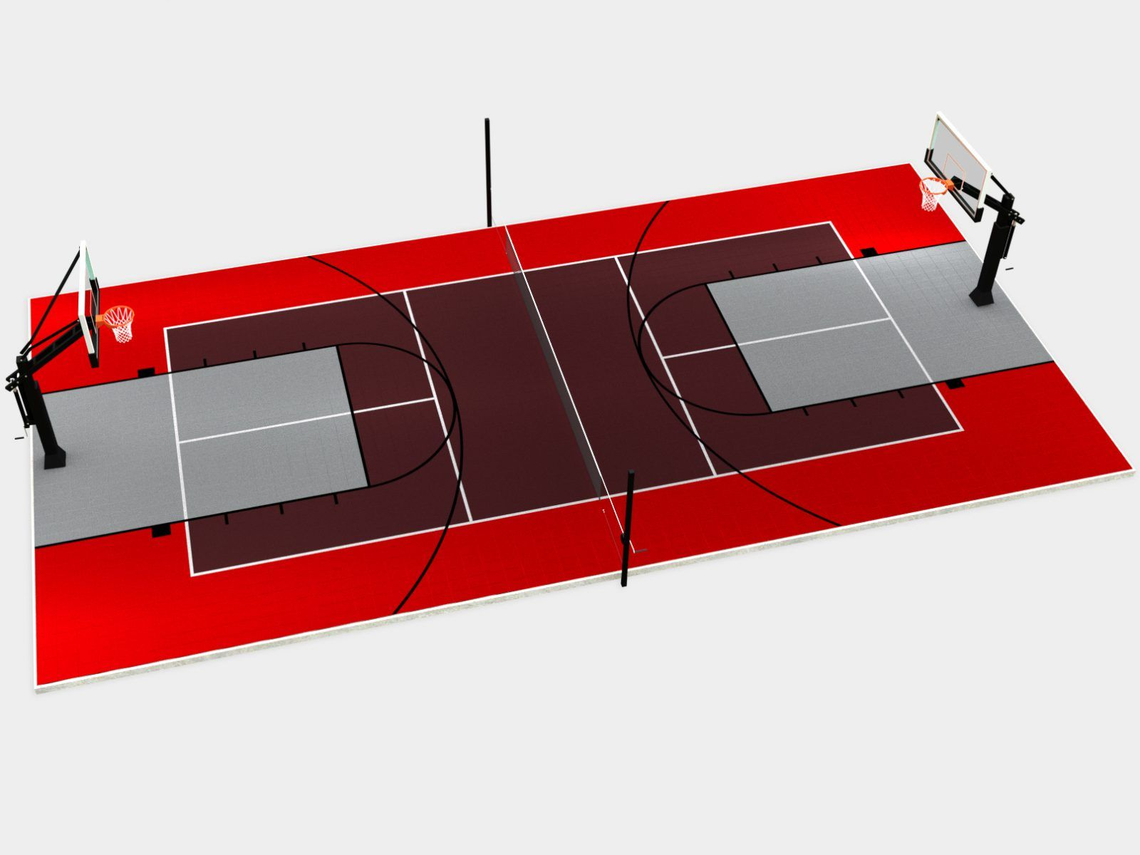 60 X 30 Full Multi Court With Tennis And Two Basketball Courts Backyard Court Diy Backyard Backyard