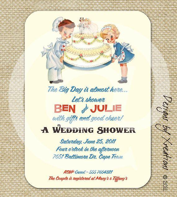 Cute Wedding Invitation Wording Samples: Cute Retro Vintage Wedding Shower Invitation
