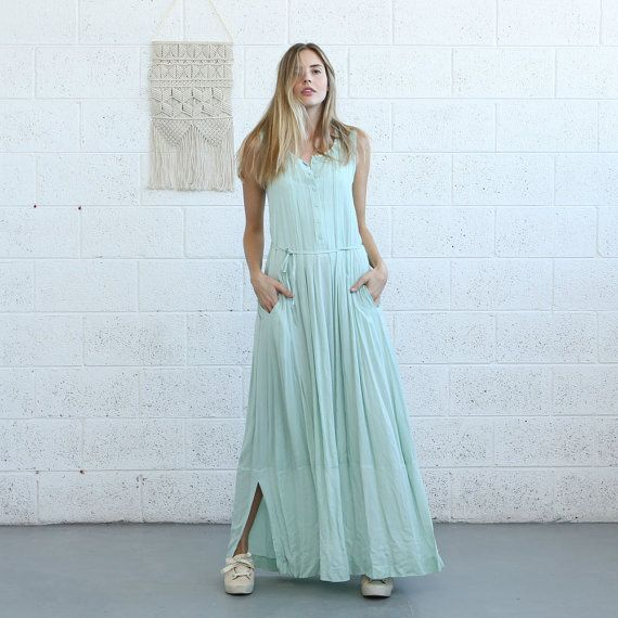 Mint Maxi Pleated Dress Casual Maxi Dress. by Naftul on Etsy
