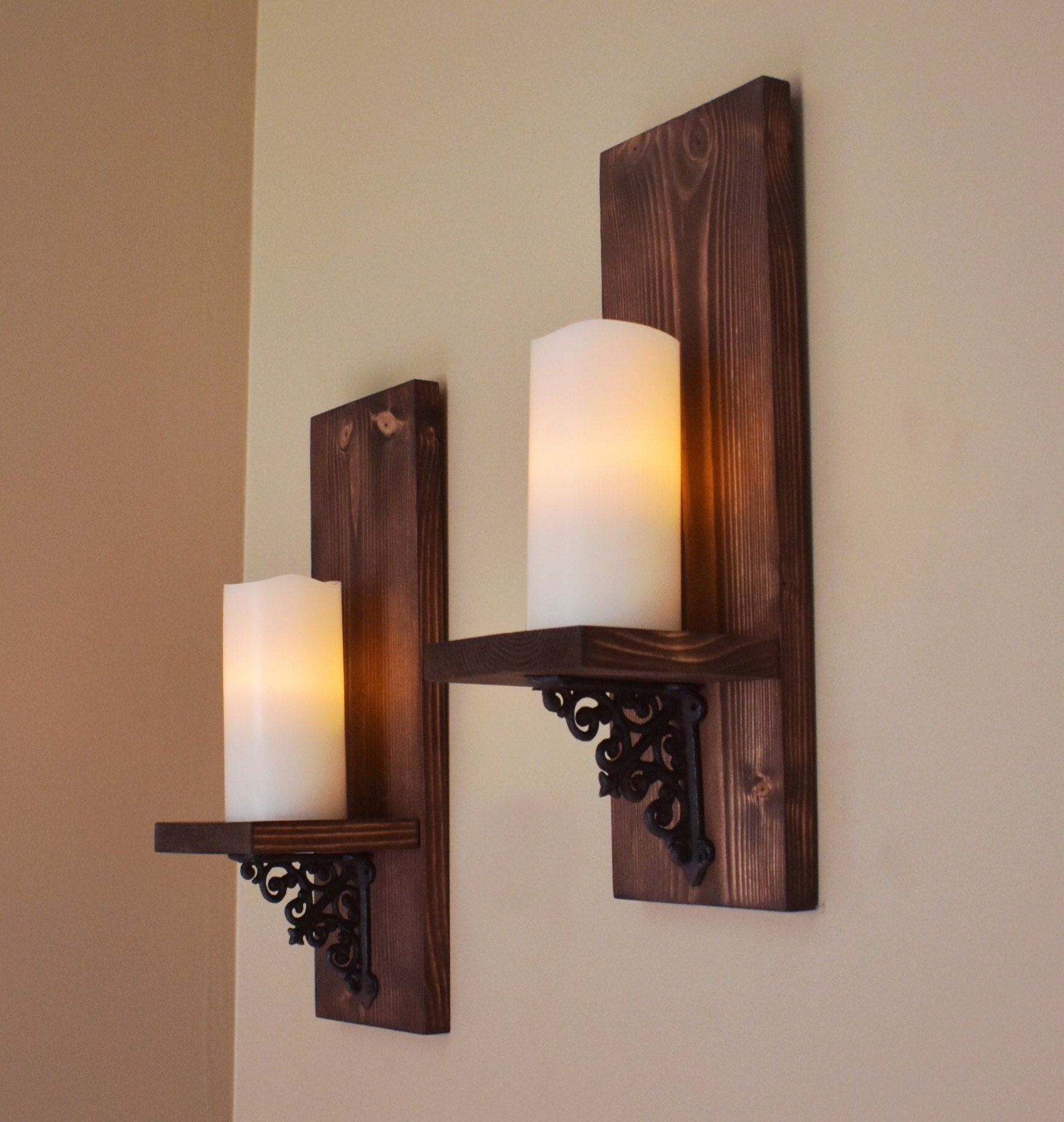 Rustic Wall Decor Wall Sconce Set Of 2 Modern Rustic Wood Etsy Rustic Candle Sconce Wooden Candle Sconces Wall Candle Holders