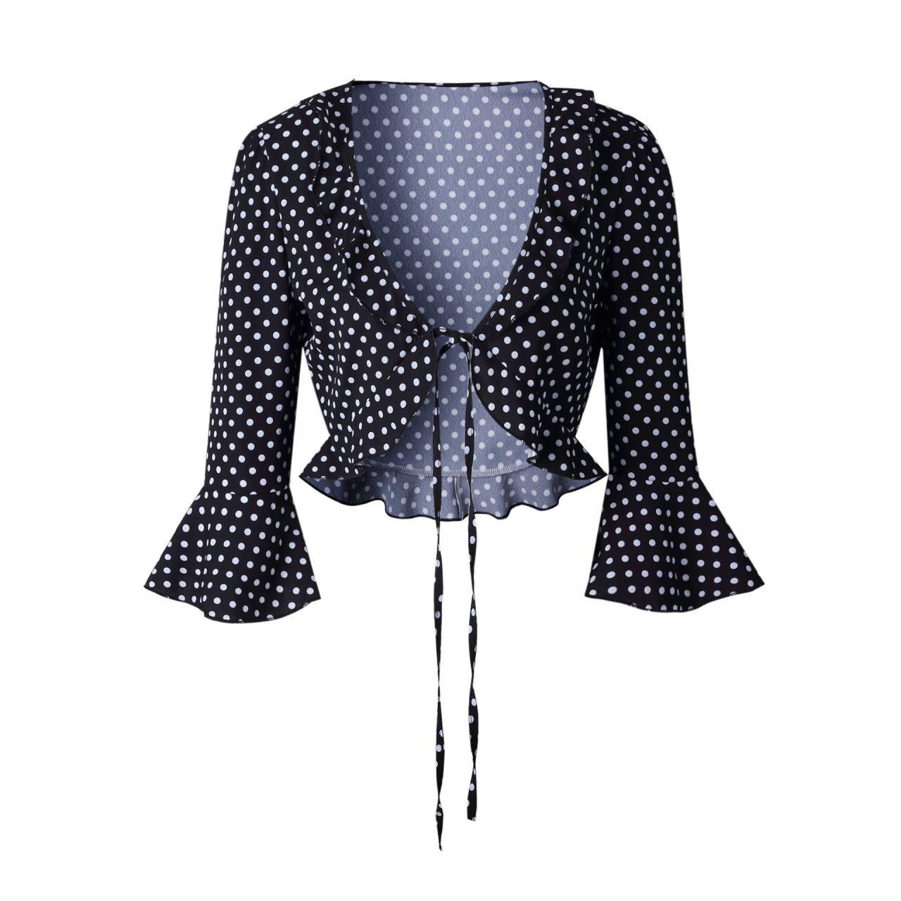 22f7bc4fd103d Lace Up Crop Top Women Summer Deep V-Neck Half Flare Sleeve Ruffles ...