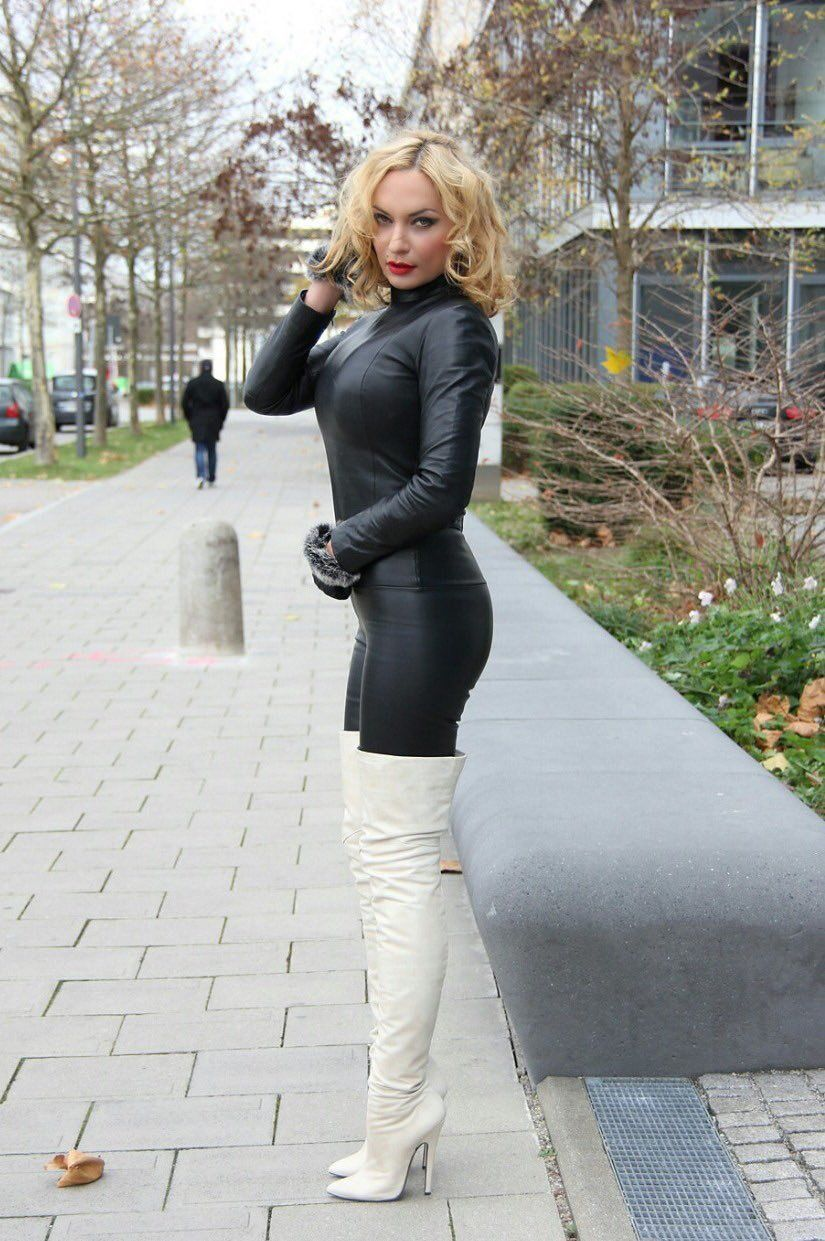 Black leather catsuit white thigh boots | boots | Leather ...