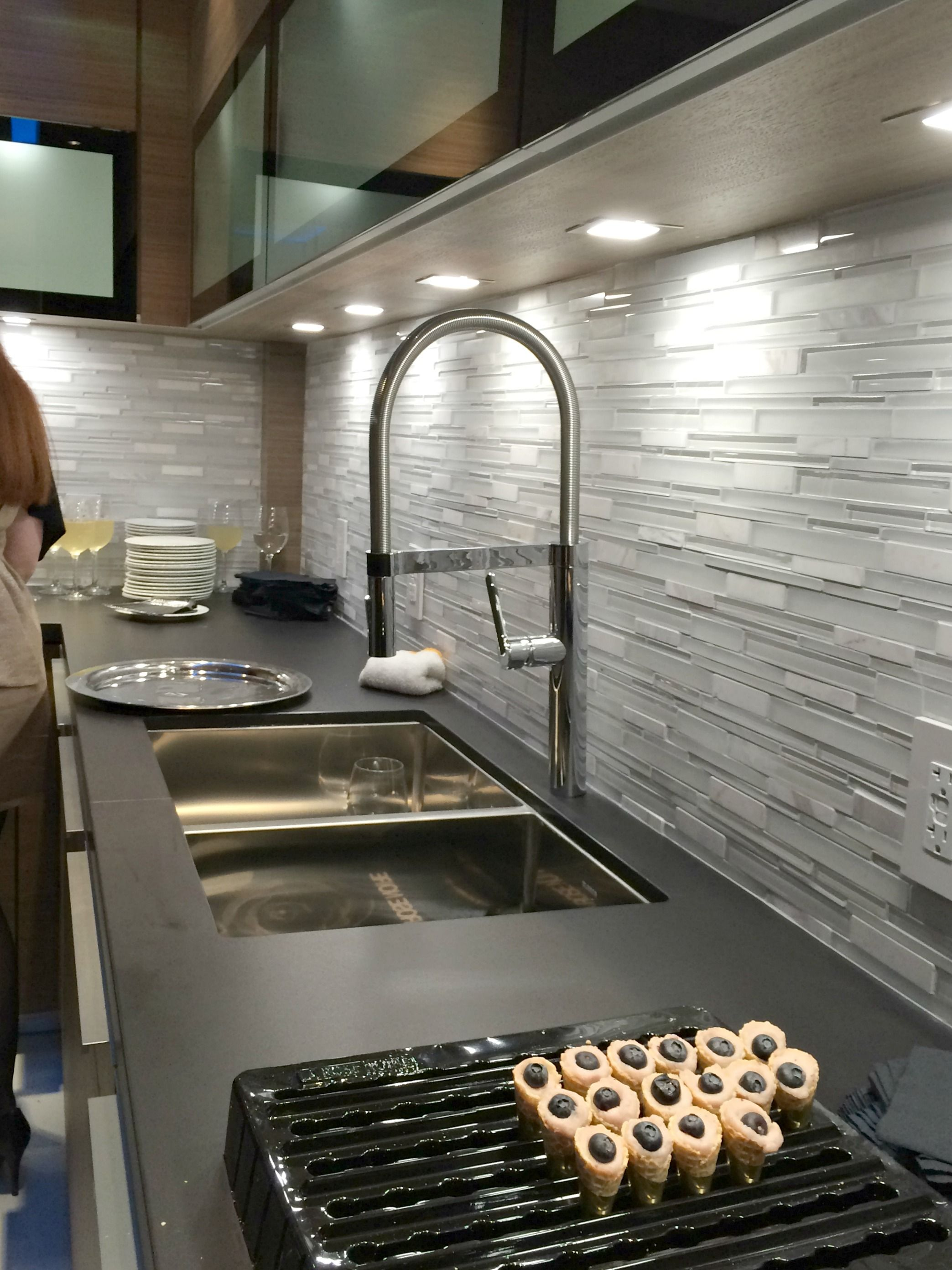 Bathroom Corian Countertop With Kraus Sinks And Blanco