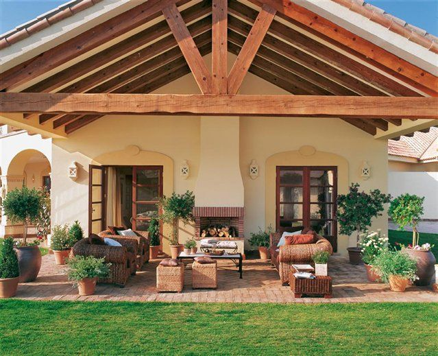 jardn y porche - Porches Rusticos