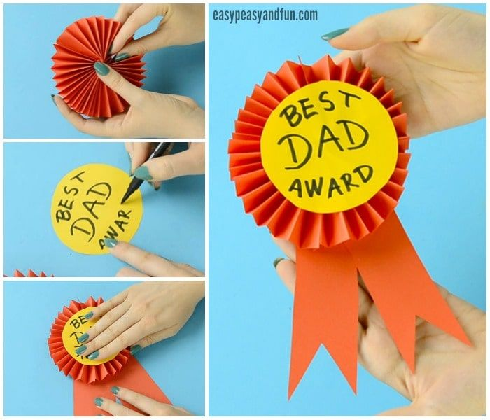 Diy Paper Award Ribbon Father S Day Craft Idea Fathers Day