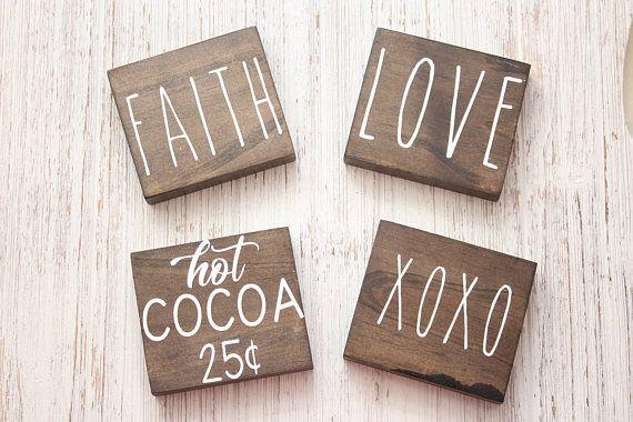 Rae Dunn Inspired Mini Blocks Xoxo Love Faith Hot