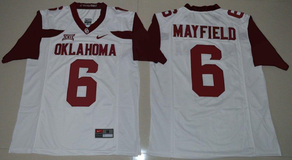 2da17f73b NIKE Oklahoma Sooners Baker Mayfield 6 College Ice Hockey Jerseys - White  Size S M L XL 2XL