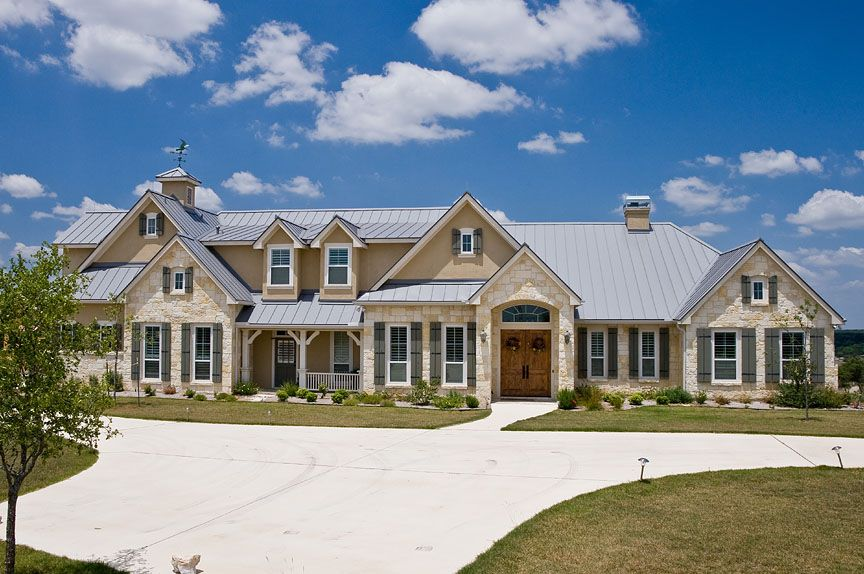 stone and stucco texas hill country home with metal roof accent kurk homes exteriors pinterest metal roof texas hill country and country