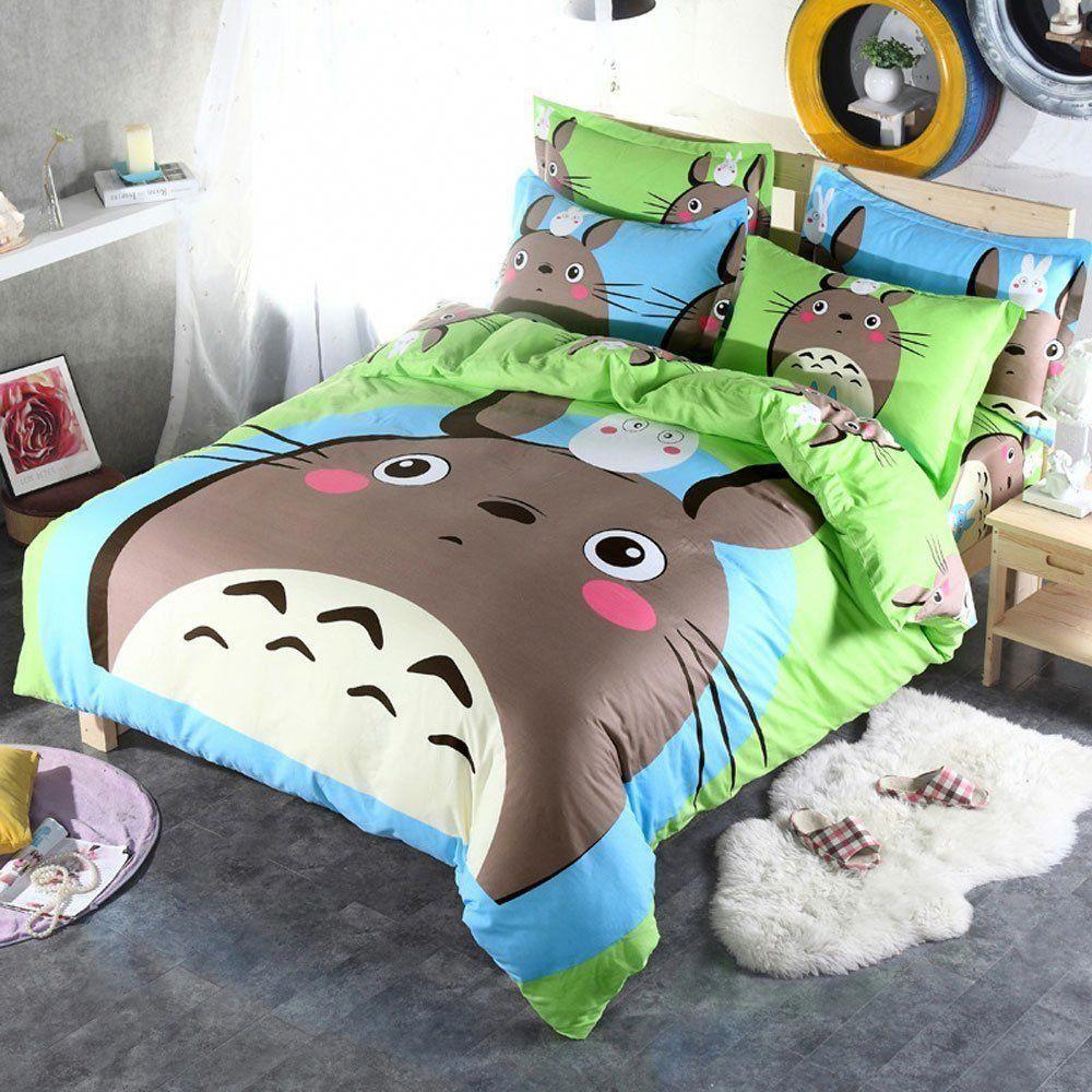 Cuti cartoon anime totoro kids students bedding 4 pieces