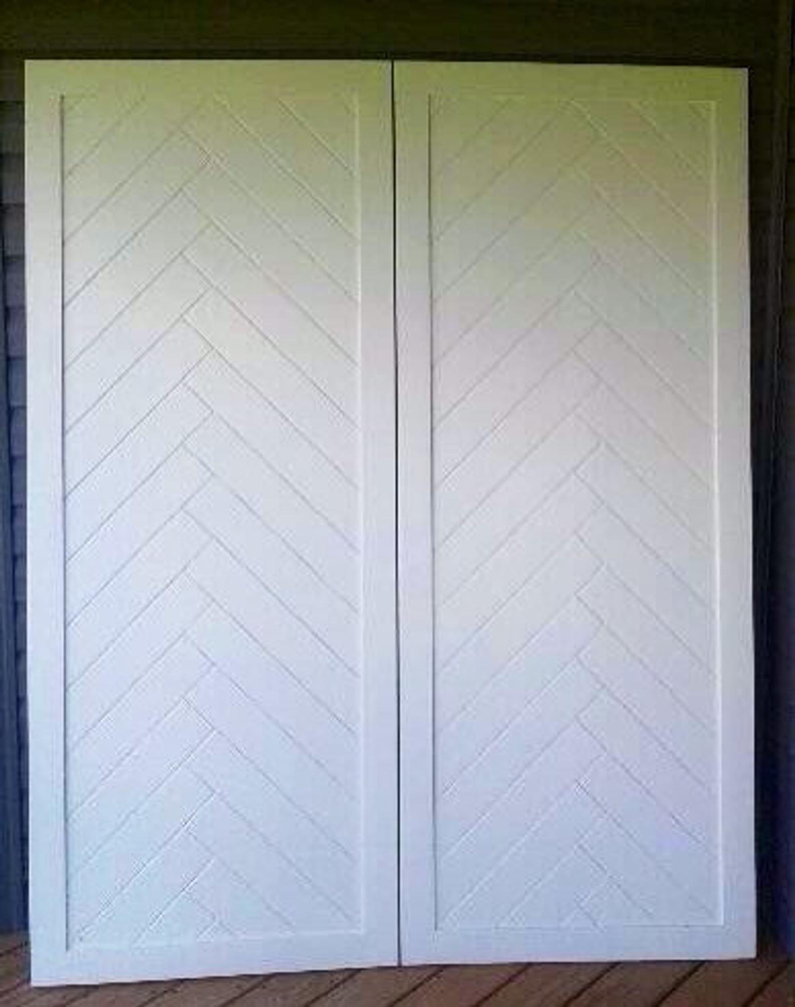 Handmade Sliding Barn Doors Herringbone Design Solid Wood