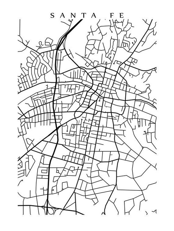 Santa Fe Map Print - New Mexico Poster Art - USA - Black and ... on 1550 s in mexico city map, mexico city neighborhood map, coyoacan mexico city map, aztec mexico city map, mexico city on the map, merida mexico city map, colonial mexico city map, teotihuacan mexico city map, ensenada mexico city map, jemez mountains new mexico map, durango mexico city map, united states mexico city map, zocalo mexico city map, albuquerque new mexico map, explorando mexico city mexico map, polanco mexico city map, los arcos mexico city map, las cruces new mexico map, xochimilco mexico city map, san angel mexico city map,