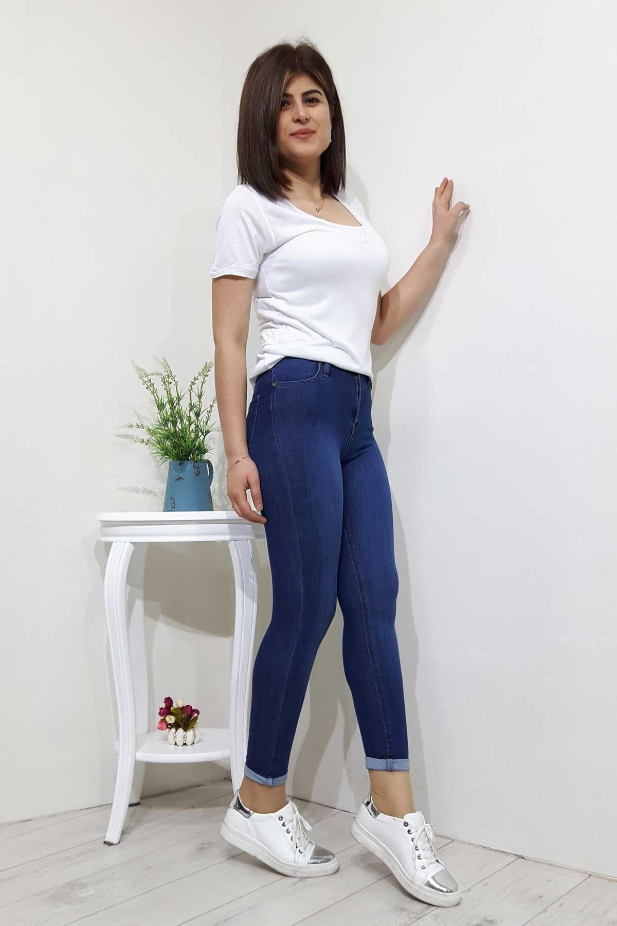 Yuksek Bel Cepli Jeans Bayan Kot Pantolon Giyim Kadin Giyim Pantolon