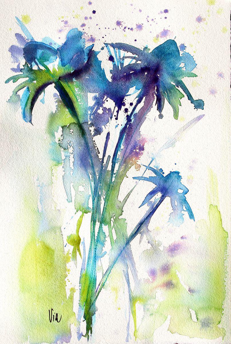 Fleur Bleue Avec Images Peinture Ananas