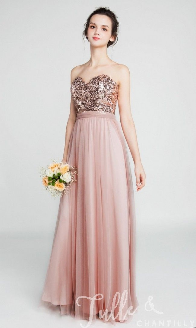 f235c7b13a0 Strapless Sweetheart Long Sequined Bridesmaid Dress with Tulle Skirt TBQP401