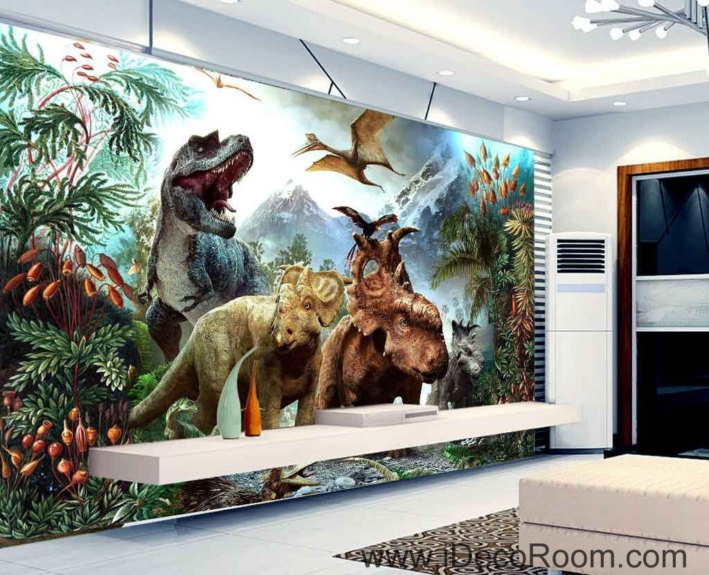 3d Dinosaurs Jurassic World Mountain Wallpaper Wall Art