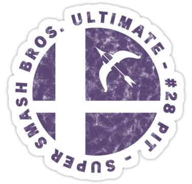 Pit Main Super Smash Bros Ultimate Character Emblem Worn Logo Sticker By Surik Smash Bros Super Smash Bros Smash