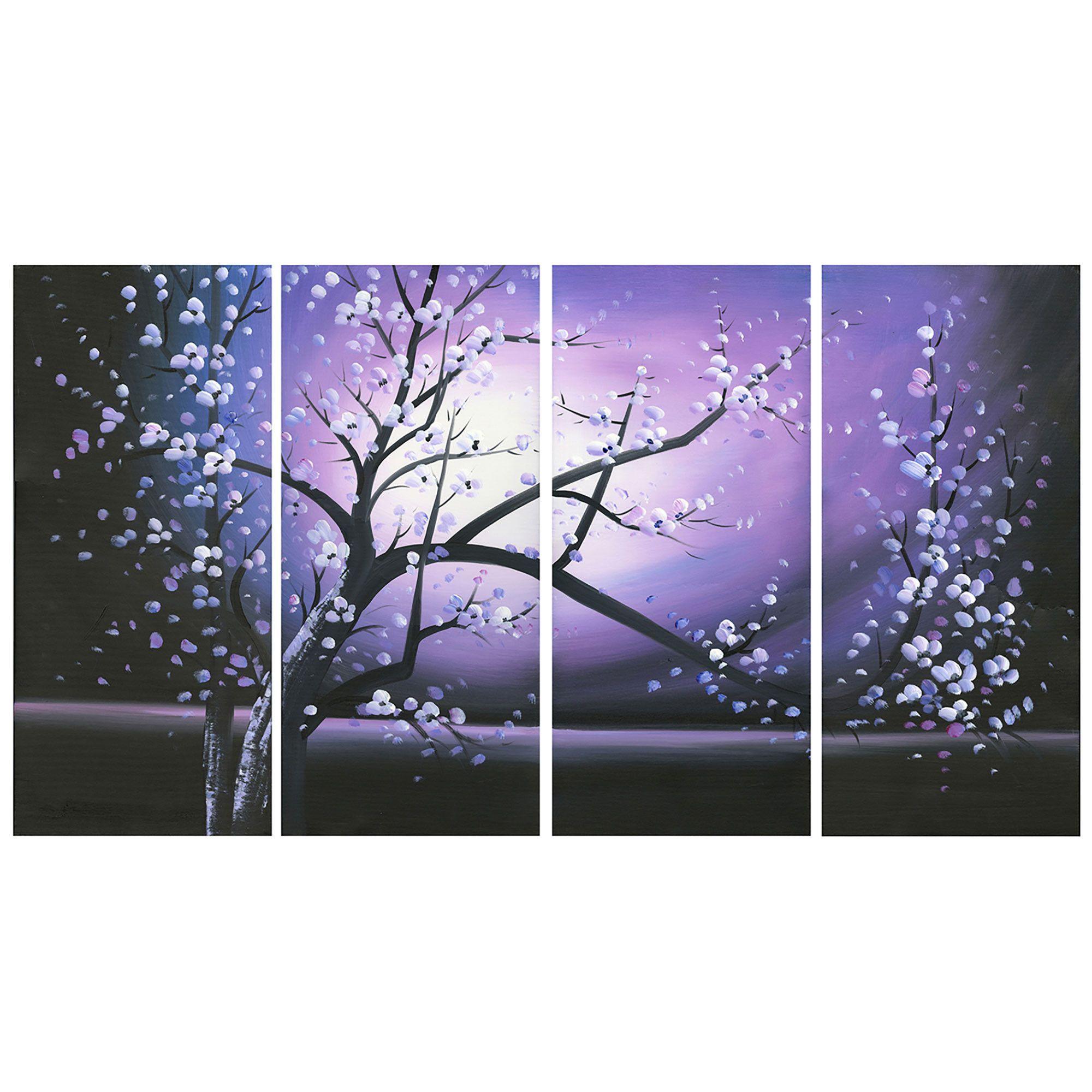 Modern Purple Tree Canvas Wall Art Oil Painting
